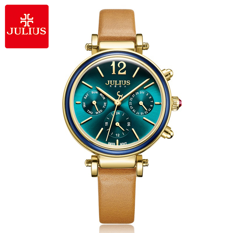 Real Multi-functions Women's Watch ISA Quartz Fashion Fine Hours Dress Sport Genuine Leather Girl Birthday Gift Julius Box real functions women s watch isa mov t hours clock fine fashion dress bracelet woman sport leather birthday girl gift julius box