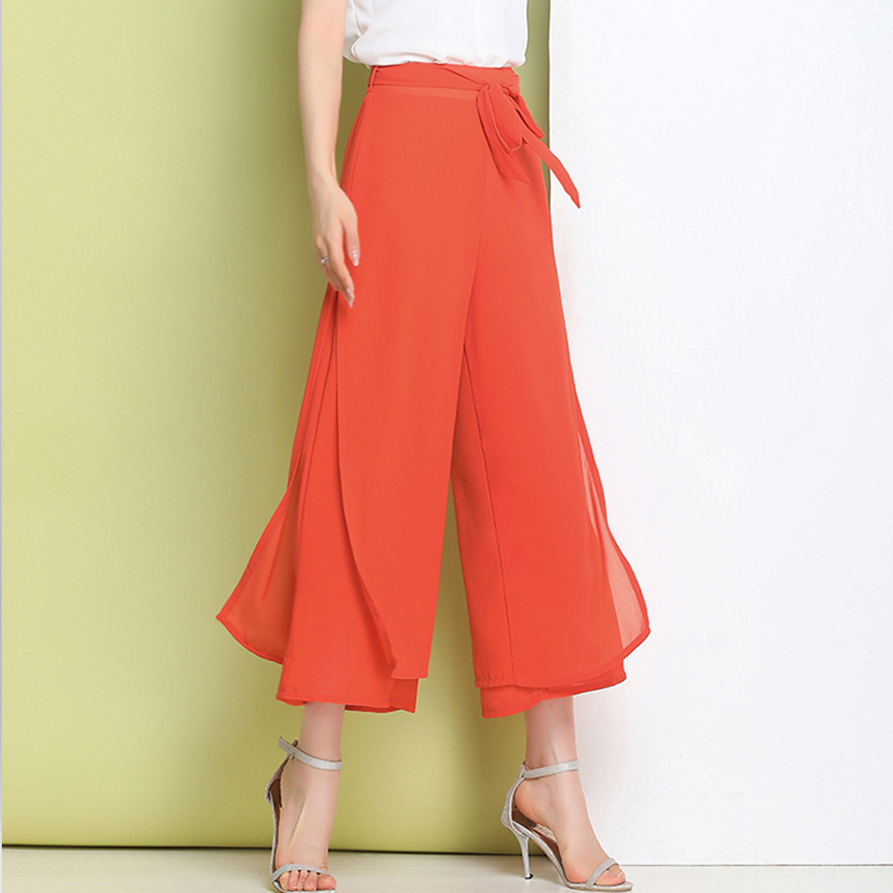 2019 new chiffon split   wide     leg     pants   women summer high waist straight casual loose ankle-length   pants   plus size dance   pants