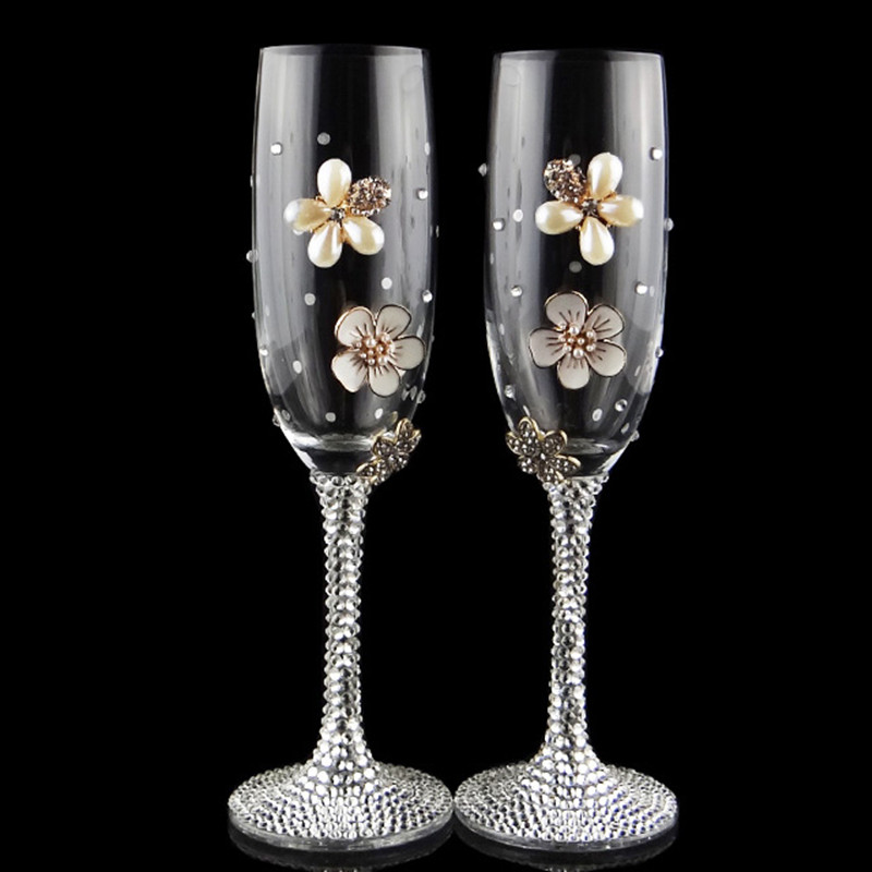Handmade luxury creative gifts 2pcs set wedding glasses for Wine glass decorations for weddings