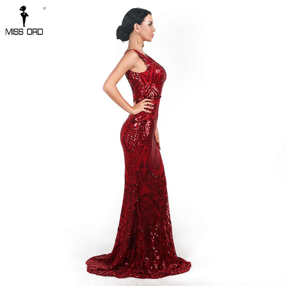 Missord 2020 섹시한 여성 v-목 긴 소매 민소매 드레스 복고풍 기하학 Backless 맥시 우아한 반사 드레스 FT18726