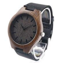 Bobobird D26 мужская Дизайн Бренда Роскошный Деревянный Бамбука Часы С натуральная Кожа Кварцевые Часы для Мужчин Природного Черного Дерева Подарок коробка