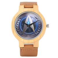 Creative Bamboo Watch Star Trek Rocket Dial Casual Men Women Wood Watch Best Big Fans Gift