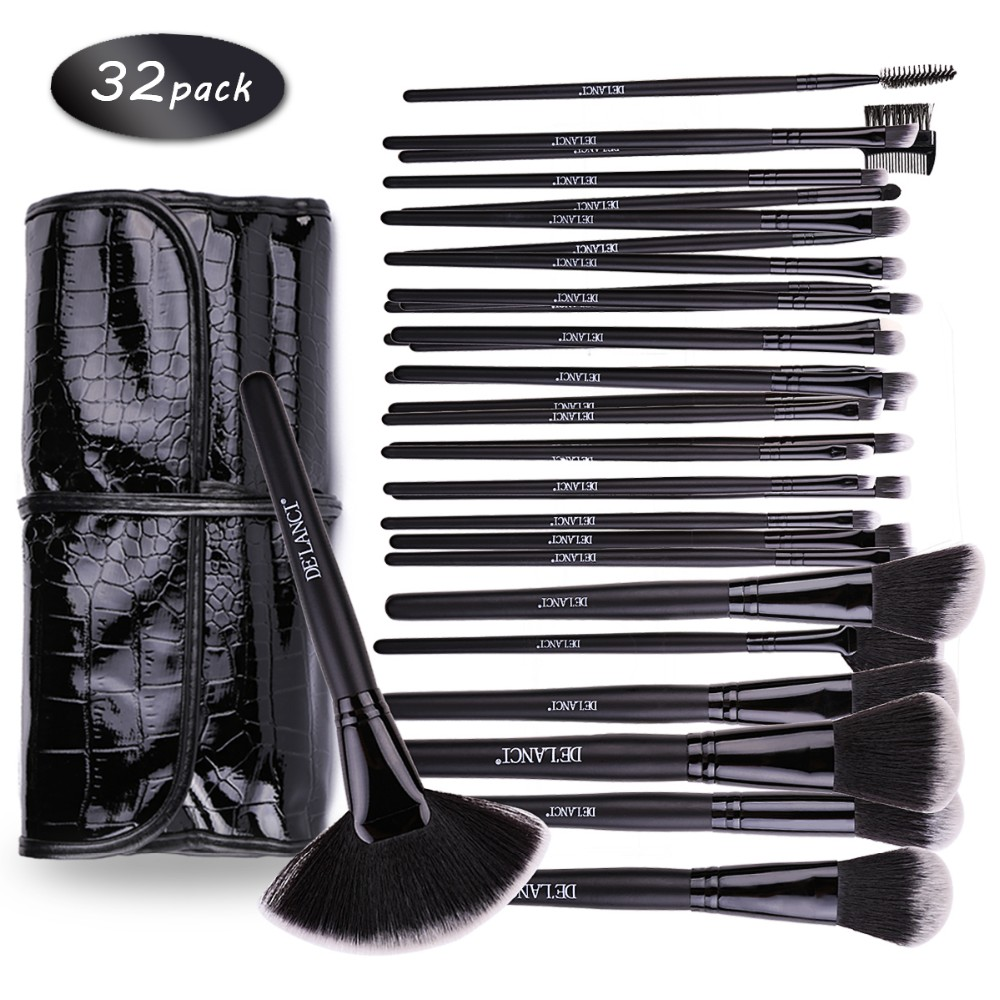 DE'LANCI Pinceles de Maquillaje Profesional 32 pcs Cosmetic Kit Eyebrow Blush Foundation Powder Make Up Set de Cepillos Con Estuche Negro