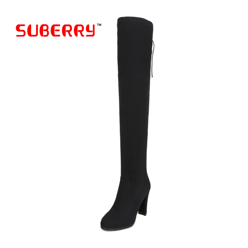 Winter Women Over The Knee High Long Boots Sexy Women Stretch Faux Suede Slim Thigh High Boots High Heels Woman Shoes Black Gray