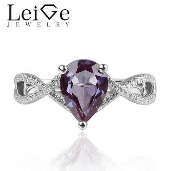 Leige Jewelry Lab Alexandrite 925 Sterling Silver Ring June Birthday Birthstone Pear Cut Gemstone Promise Rings for Women