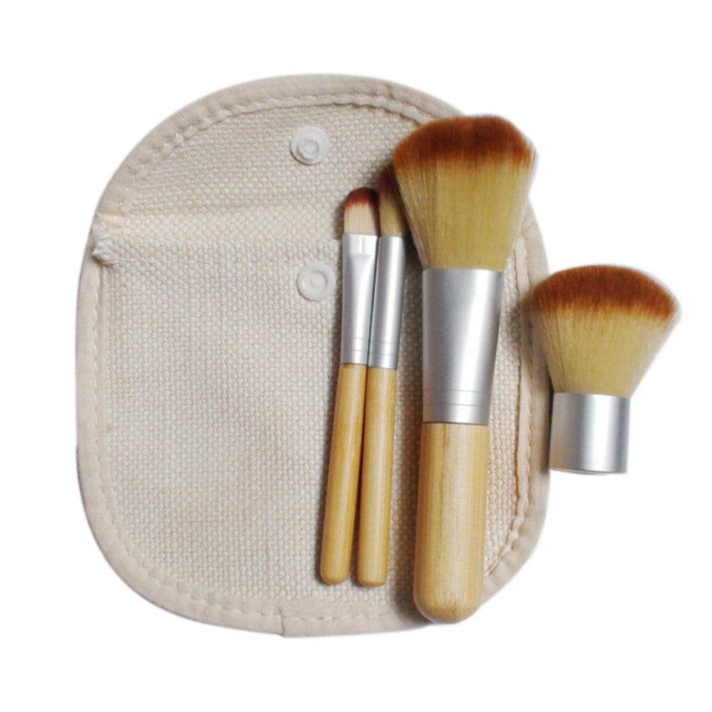 4Pcs Natural Bamboo Handle Cosmetics Mineral Powder Blush Concealer Eye Shading Body Kabuki Makeup Brush Set Tool GUB#