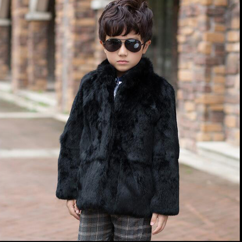 2017 Fashion Children's Rabbit Fur Coat Winter Warm Boys Warm Outerwear Jackets Mandarin Collar Coat Kids Solid Short Coat C#09 2017 winter new clothes to overcome the coat of women in the long reed rabbit hair fur fur coat fox raccoon fur collar