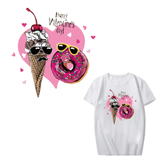 Pink Heart Patch Iron on Transfer Ice Cream Patches for Girl Clothing DIY T-shirt Dresses Applique Heat Transfer Vinyl Stickers