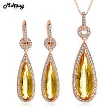 MoBuy Pear Citrine Natural Gemstone 2pcs Trendy Jewelry Sets 100% 925 Sterling Silver For Women Wedding Fine Jewelry V047EN