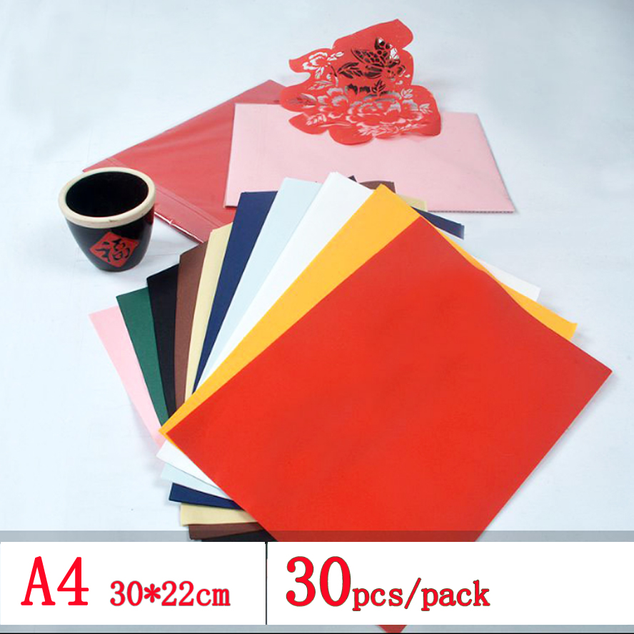 30 pcs/pack Colorful Chinese calligraphy Rice Paper for Paper-Cut Origami Painting Xuan Paper Windows Paper colorful paper clips around 100 pack