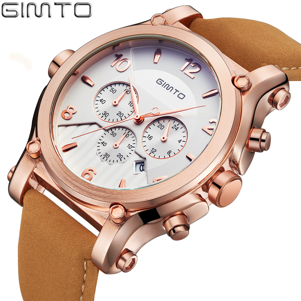 Prix pour GIMTO Grand Cadran De Luxe Hommes Montres Date Véritable En Cuir Militaire Quartz-montre Étanche Sport Hommes Montre-Bracelet Montre Relojes