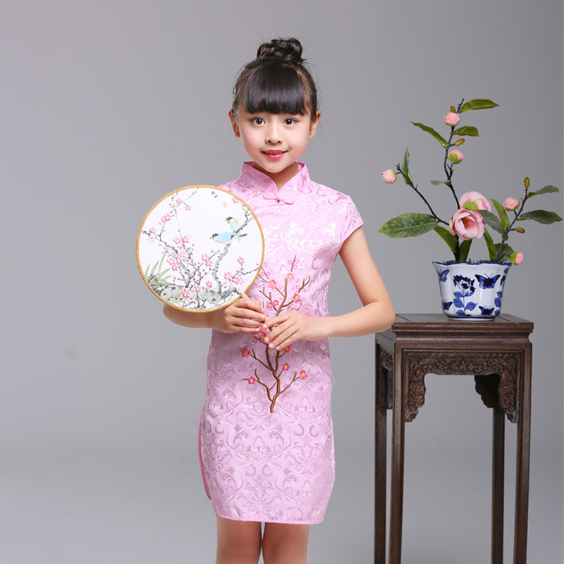 2018 Summer Children Chinese Cheongsam Girl Oriental Traditional Dress Girls Performance Cheongsam Retro Style Children Clothes