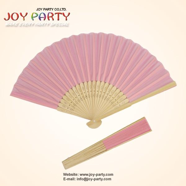 10ks / lot 21cm Růžová barva Silk Hand Fan Svatební strana Favor Promotion dárek
