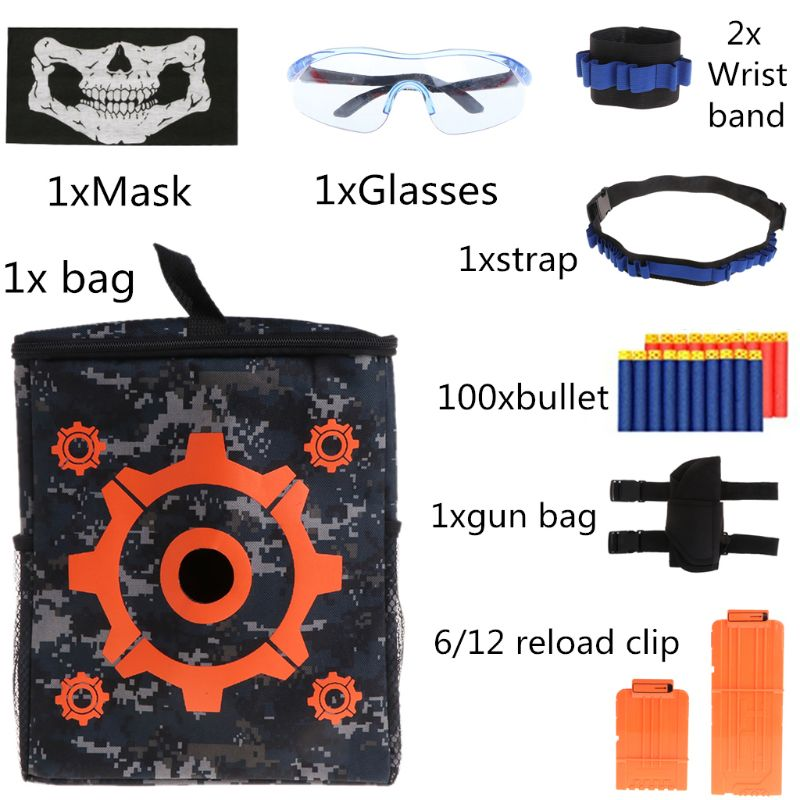 Super Cost-effective Target Bag Kit Toy Gun Glasses Mask Shuttle Bullet Clip For Nerf Mega Water Gun Accessories Adults Boysgift Rich And Magnificent