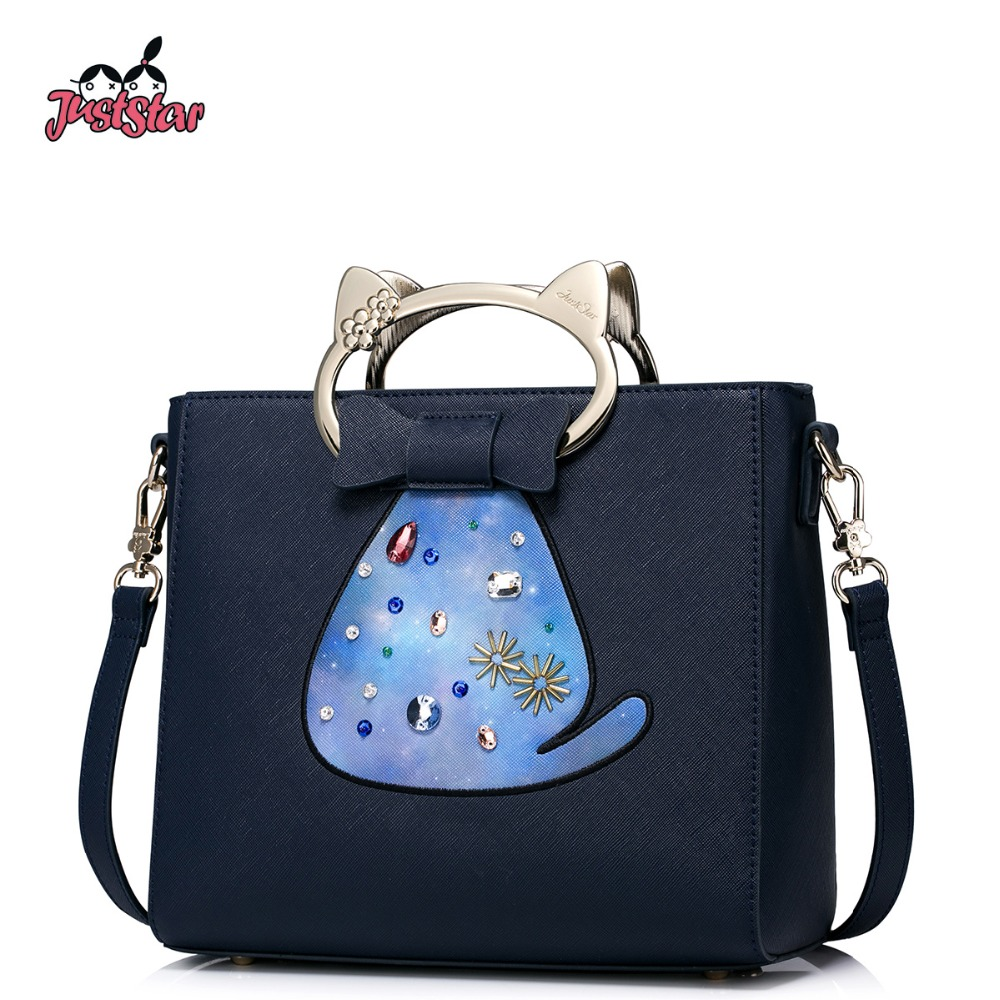 JUST STAR Women's PU Leather Handbags Ladies Fashion Embroidery Cartoon Cat Tote Bags Female Flap Beading Messenger Bags JZ4151 just star women s pu leather handbags ladies fashion rivet tote bags female cat cute messenger bags brand high quality jz4227