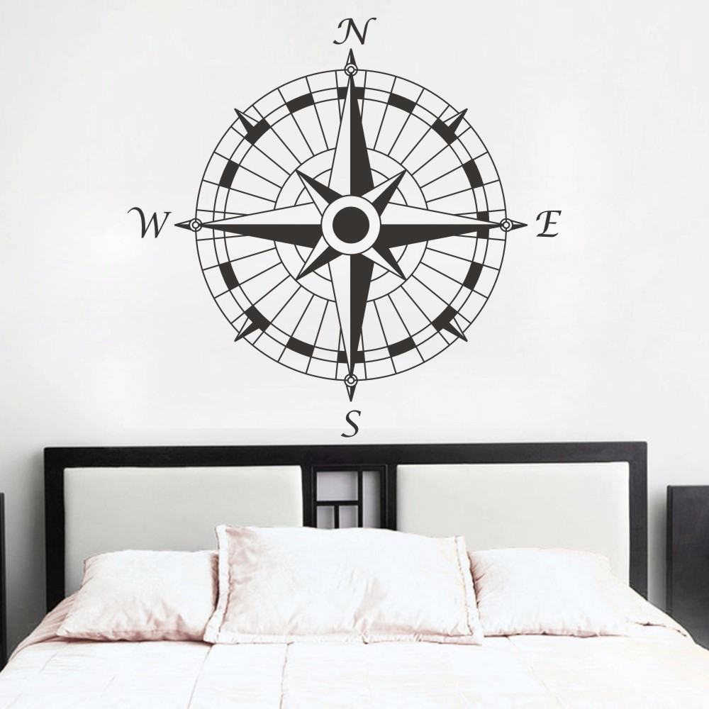 Removable wall art graphic - Nautical Compass Removable Wall Decal Vinyl Wall Sticker Art Graphic Set Sail Bedroom Decoration Wall Decor