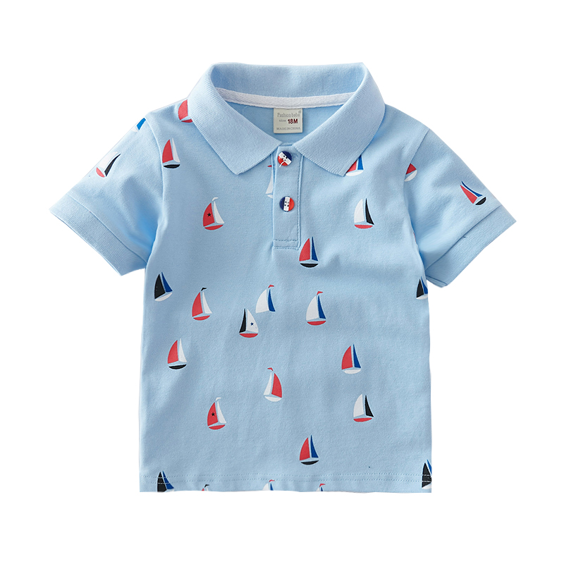 1-6T High Quality Summer Cotton Baby Polo Shirts Cartoon Boat  Kids Short Sleeve Clothes Bebe Boys Tops Toddlers Clothing