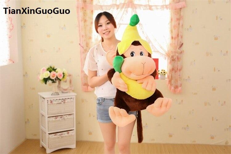 Grand 75 cm belle banane singe en peluche jouet mignon chapeau singe doux poupée coussin cadeau d'anniversaire s0568
