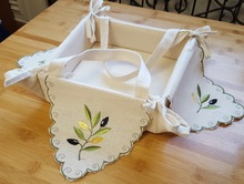 1pc/lot Bread Box Embroidered Leaves Plant Snack Storage Box Bin Candy Basket Toast Container Folding Rectangle Rustic Breadbox