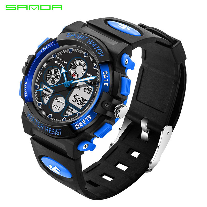 Sanda Cool Children Sports Watch Waterproof LED Digital Watch For Students Kids Clock Hour Luminous relogios
