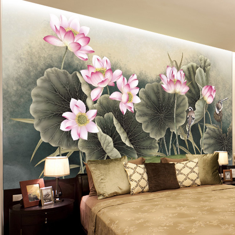 Lotus flower bird wallpaper beautiful 3d photo wallpaper - Flower wallpaper mural ...