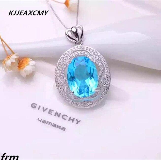 KJJEAXCMY boutique jewelry,10kt Natural Topaz Women Necklace Pendant 925 Silver Set with premium blue topaz цены онлайн