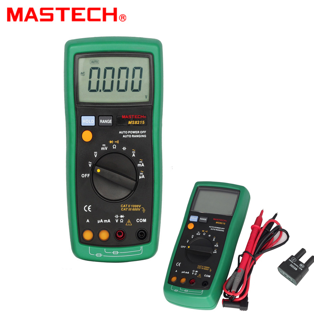 MASTECH MS8215 Auto Range Overload protected Digital Multimeter DMM AC/DC Voltmeter Ammeter Ohmmeter Capacitor Tester victor vc9807a 4 1 2 ac dc resistance digital multimeters ammeter voltmeter ohmmeter conductivity capacitance frequency tester