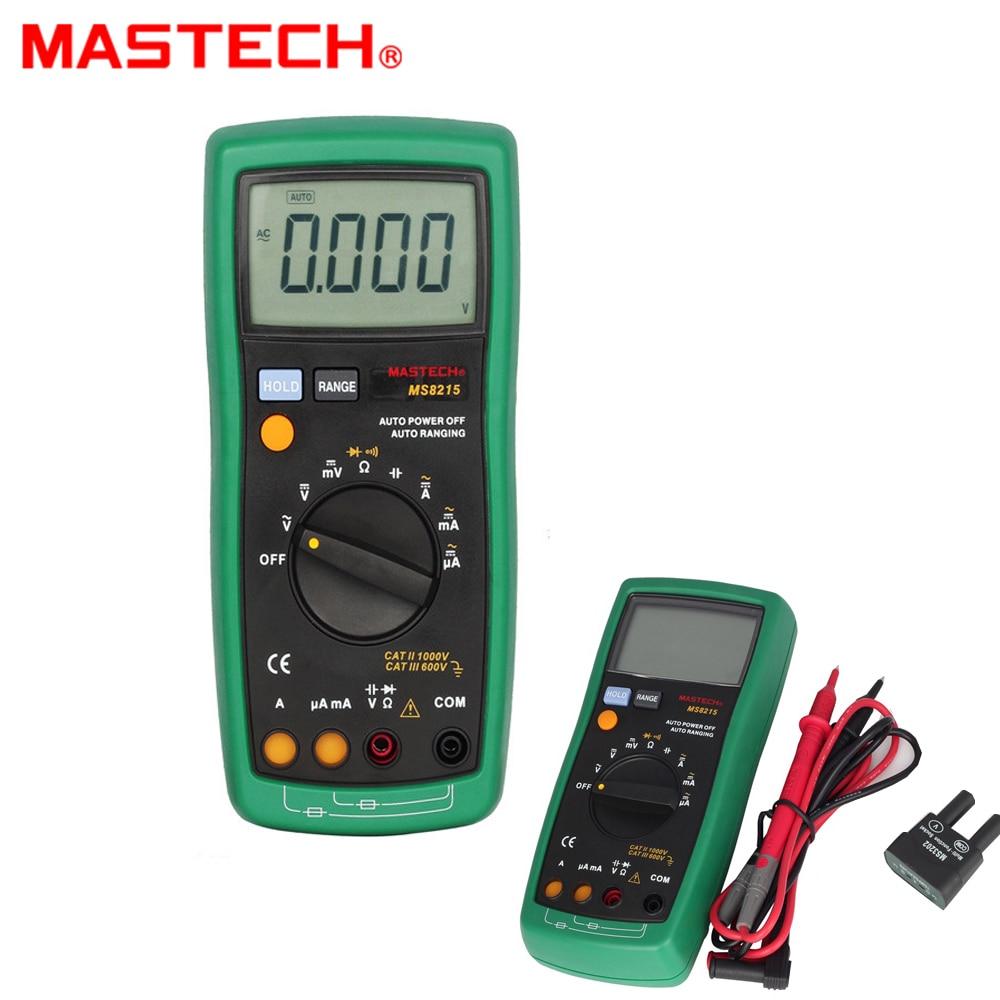 MASTECH MS8215 Auto Range Overload protected Digital Multimeter DMM AC/DC Voltmeter Ammeter Ohmmeter Capacitor Tester victor vc97 auto range dmm ac dc voltmeter capacitance resistance digital multimeter vs fluke15b