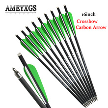 12pcs Archery Crossbow Arrow 16 Inch Mix Carbon Bolt OD 8.8 mm Shooting Removable Arrowhead Green Feather