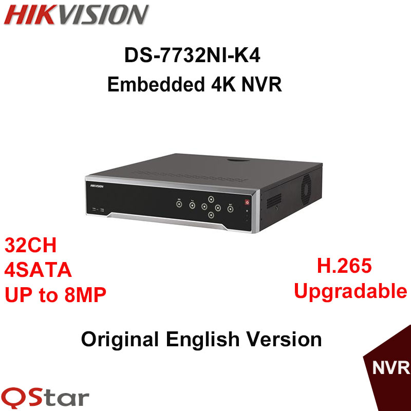 Hikvision Original English Version DS-7732NI-K4 Embedded 4K NVR 4HDD Upgradable Support H.265 8MP 32CH Network