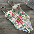 2016 Women Swimwear One Pieces Swimsuits Print floral high waisted bathing suits Plus Size Swimwear 1782