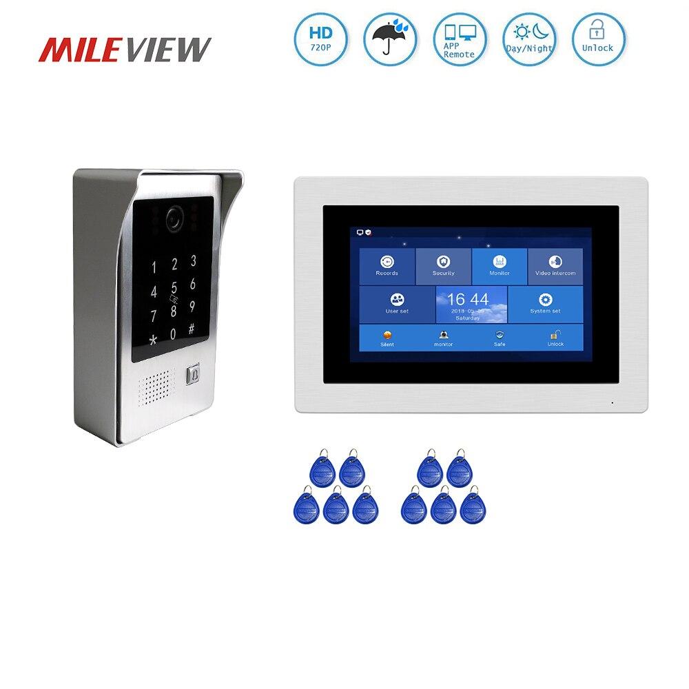 Бесплатная доставка 720 P Wi Fi IP 7 сенсорный экран видеодомофоны телефон двери комплект для видеозаписи удаленного мониторы код клавиатуры RFID ...