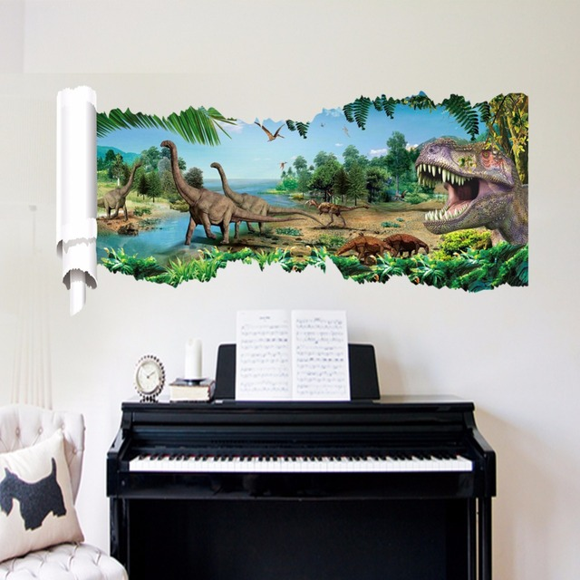 EHOME Jurassic Period Wall Stickers Home Decor Office Sauroposeidon Dinosaur Sticker for Wall Removable Vinyl Wall Decal