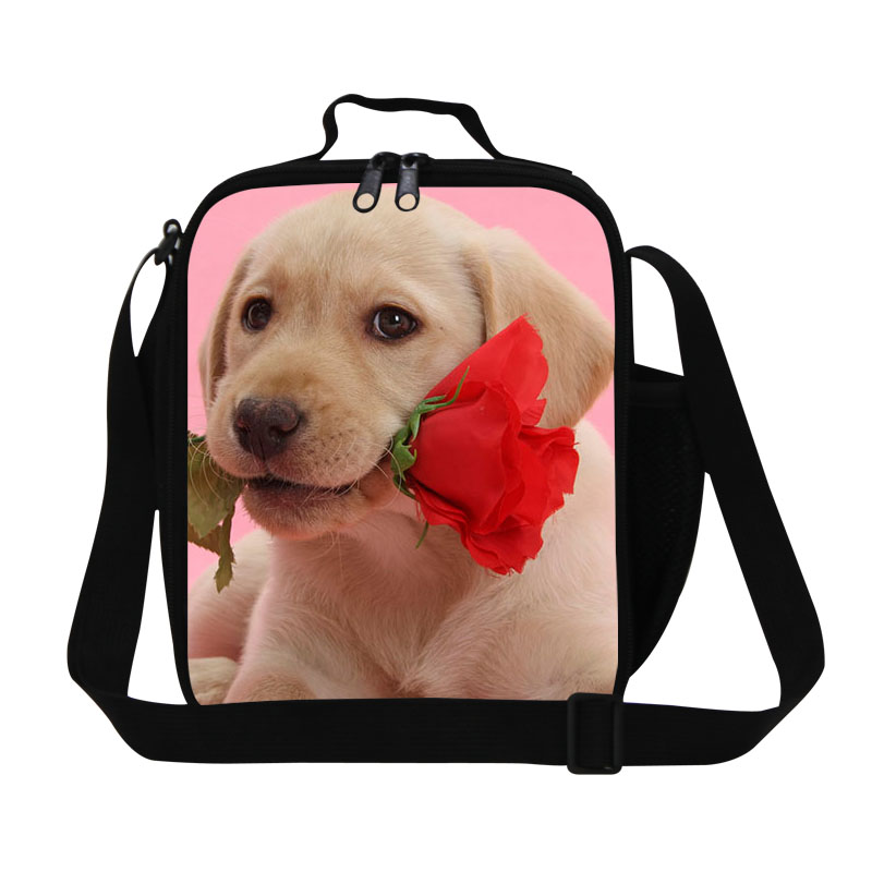 3D Print Dog With Rose Kids Lunch Bags Children Travel Picnic Food Bag Girls  Portable Meal Package Thermal Lunch bag For Office 6b8395c15b