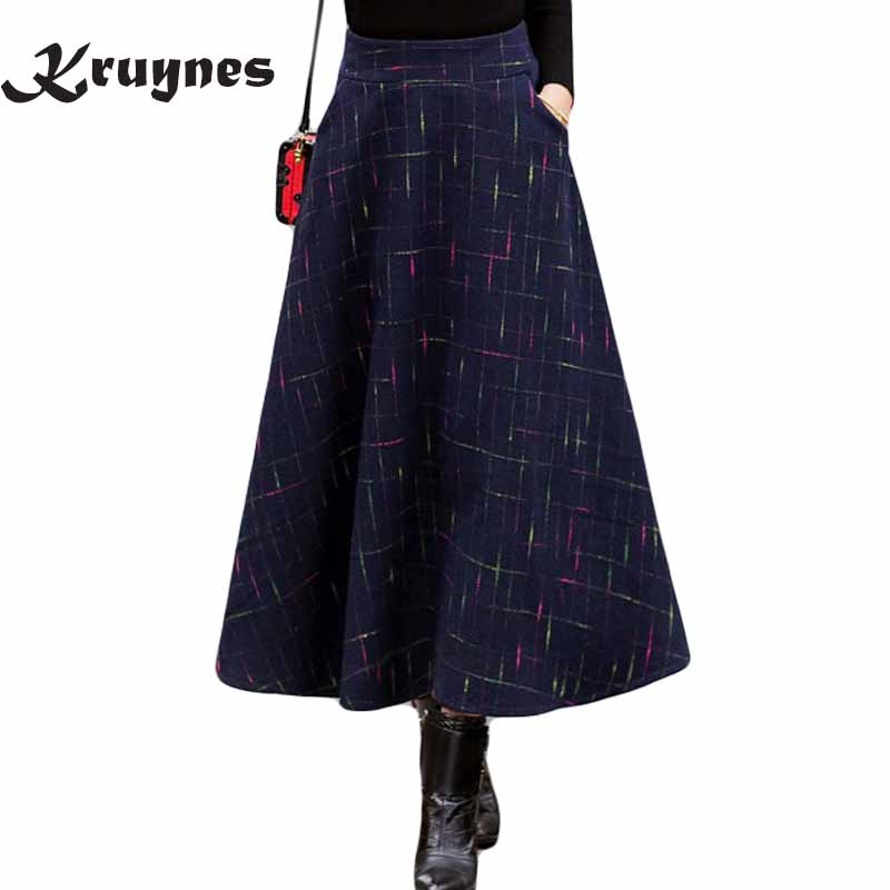 2018 autumn elastic high waist skirt plaid long woolen skirts for women plus size winter Warm vintage A Line Skirts Jupe Longue