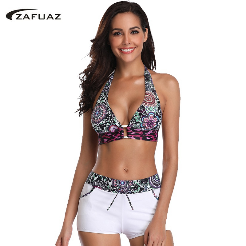 ZAFUAZ 2019 Sexy Vintage Floral Print Bikini Sport Plus Size Swimwear Halter Women Swimsuit Shorts Bandage Female Bathing Suit