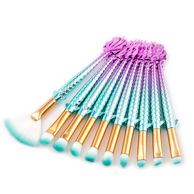 Professional 10pcs Mermaid Makeup Brush Set Eyebrow Eyeliner Blush Blending Contour Foundation Cosmetic Beauty Makeup Brush Tool new design stamp seal shape face makeup brush foundation powder blush contour brush cosmetic facial brush cosmetic makeup tool