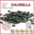 500g (250 mg x 2000 unids) 100% Orangic Chlorella Pyrenoidosa Chlorella Vulgaris Tablet Pared Rota de Alta Calidad rica de Clorofila