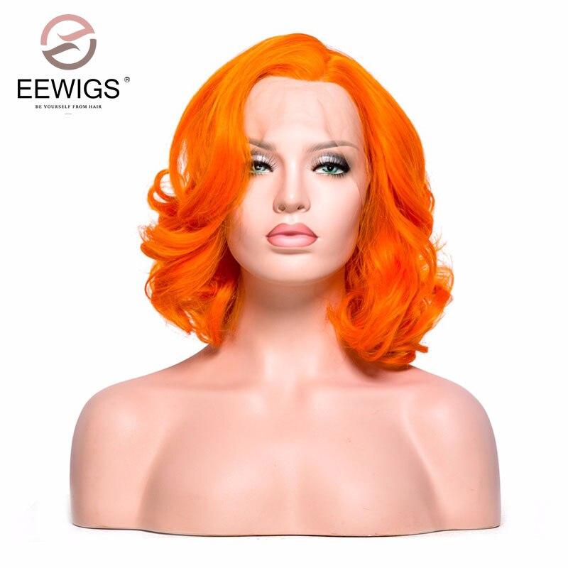 EEWIGS Curto Bob Cor Laranja Peruca Dianteira Do Laço Sintético Perucas da Senhora peruca para As Mulheres Brancas Luz Cor Da Tampa para Darg Rainha Peruca