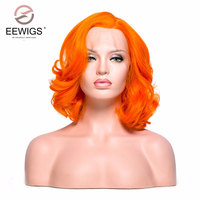 EEWIGS Short Bob Wig Orange Color Synthetic Wigs Lady's Lace Front Wig for White Women Light Cap Color for Darg Queen Wig