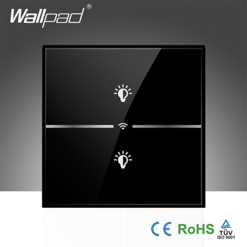 Hot Sales Wallpad LED Black Luxury Glass 110~250V EU 2 Gang Wireless Wifi Remote Light Control Light Wall Switch, Free Shipping eu 1 gang wallpad wireless remote control wall touch light switch crystal glass white waterproof wifi light switch free shipping
