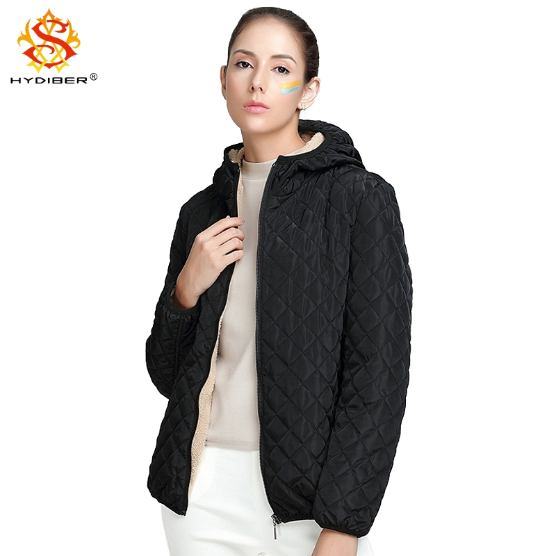 hydiber 2018 New Arrival Autumn Black Long Sleeve Women Short Coats for Ladies Diamond Pleated Line