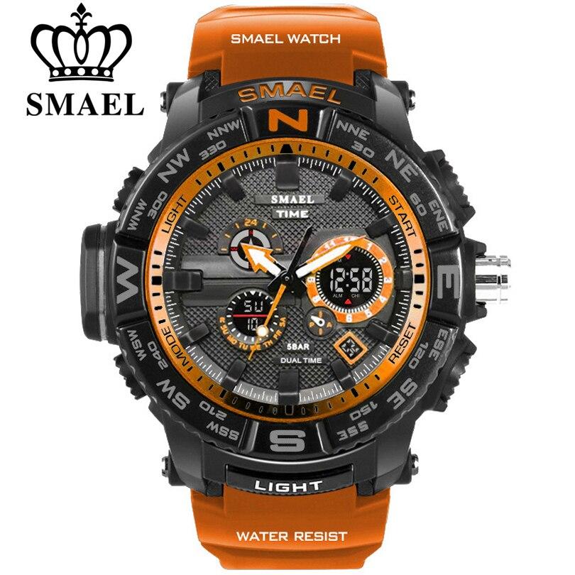 Deporte de los hombres relojes SMAEL marca pantalla dual reloj analógico digital LED electrónica relojes de cuarzo 30 m resistente al agua reloj Masculino
