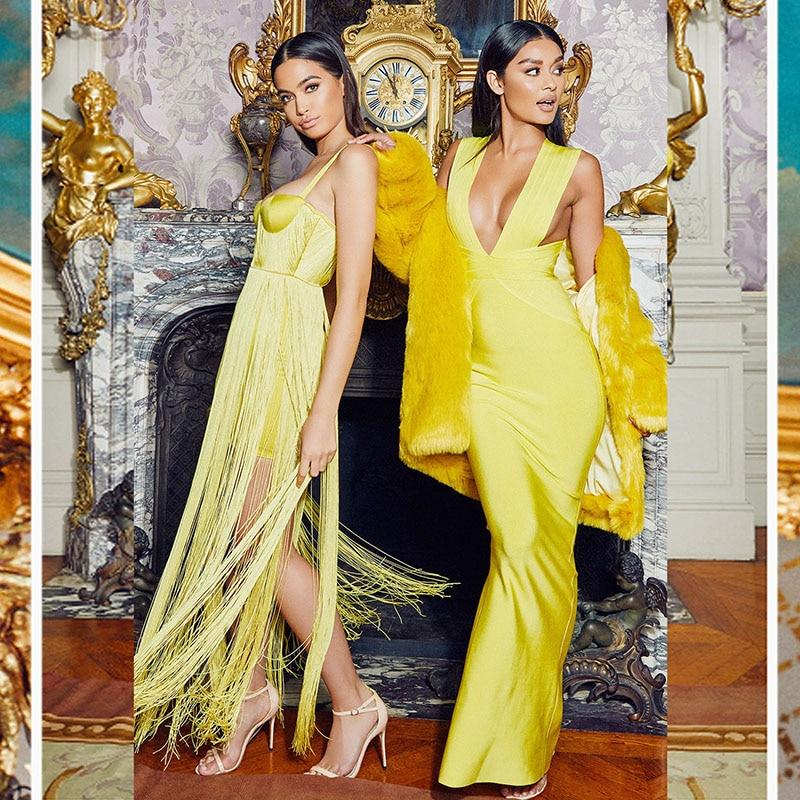 Longues Qualité Robes Manches Celebrity Soirée Jaune 2018 Sexy Robe Cou Élégant Profonde De Top V Mariage Bandage Maxi xUOF7wT0q