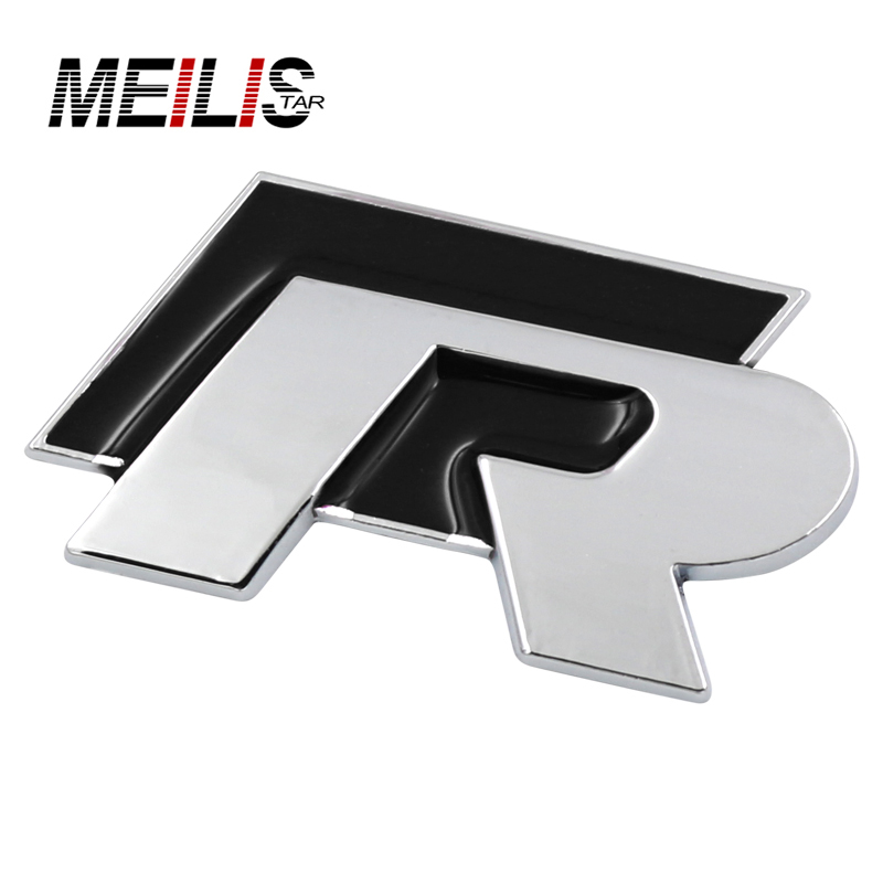 Car-styling Chromed Emblem Badge Decal Sticker R Racing Logo For Volkswagen VW Golf 5 6 7 Polo CC Scirocco SAGITAR passat jetta flyj 3d rabbit badge gti letters chrome metal emblem refitting car styling trunk sticker decoration for vw jetta cc sagitar