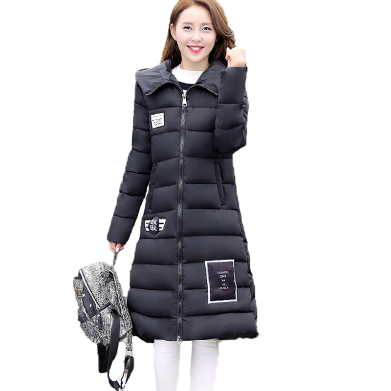 2017 New Long Style  Cotton Parkas Women Winter Coats Thick Solid Color Slim Hooded Down Female Padded Jacket Warm Zipper Coats