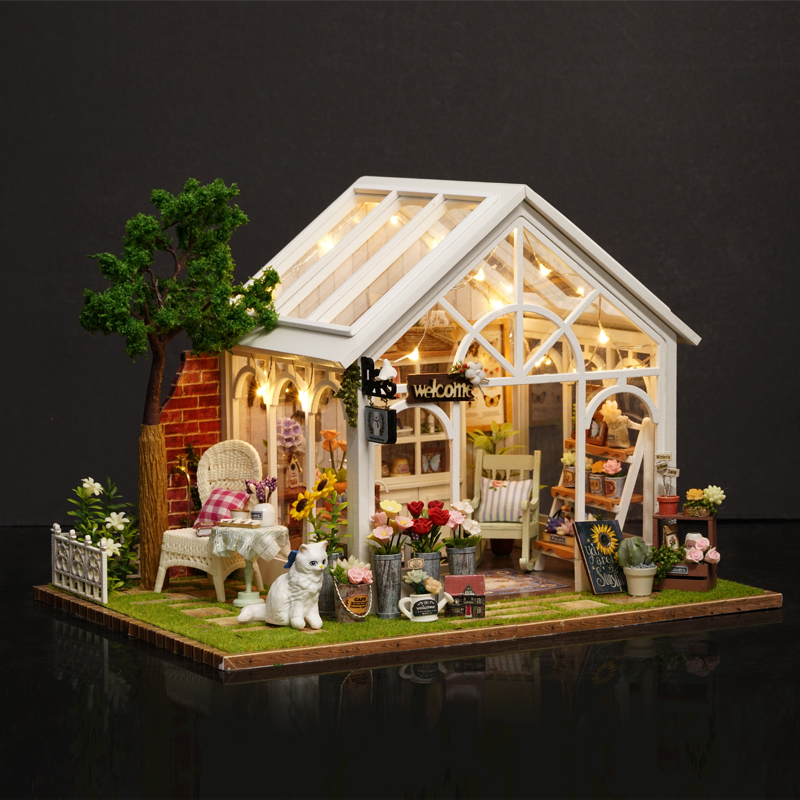DIY Doll house Miniature Dollhouse 3D Model With Furnitures House Toys Birthday Gift For Children Friend A063 #D
