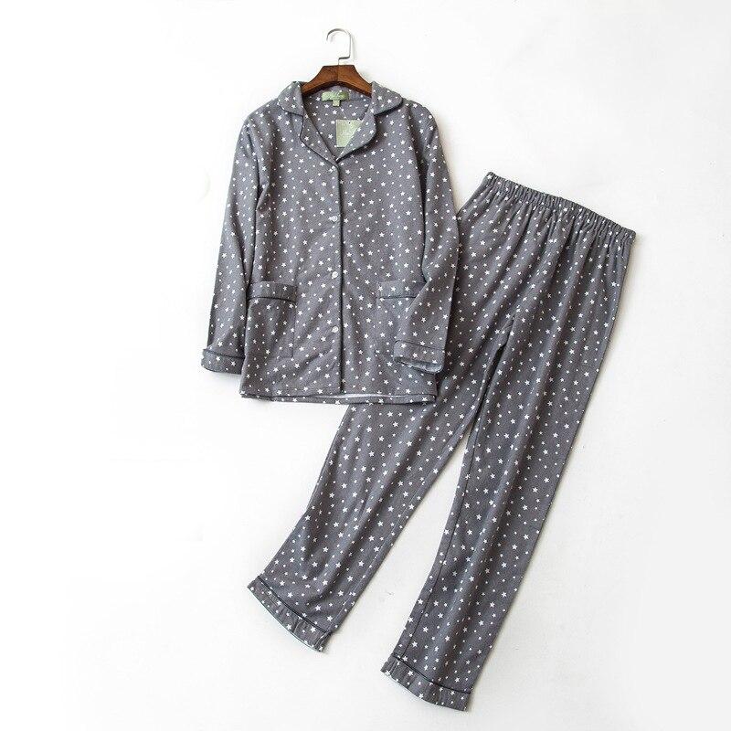Winter cotton   pajamas     set   star gray two piece   set   clothes home suit women
