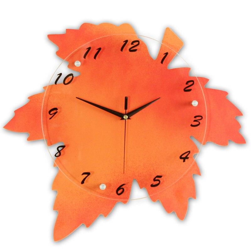 En bois verre peinture feuille d'érable numérique horloge murale Design moderne duvar saati horloge murale décor à la maison