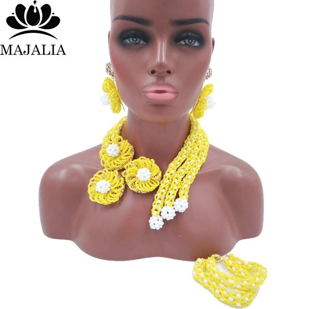 купить Fashion african jewelry set yellow nigerian wedding african beads jewelry set Crystal Free shipping Majalia-351 по цене 4160.77 рублей